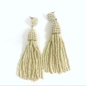 BaubleBar | Cream White Beaded Tassel Earrings